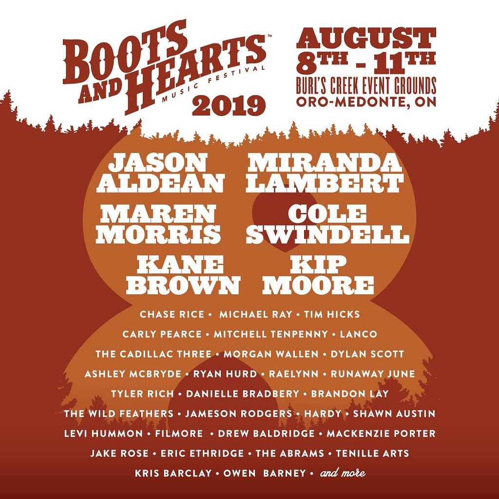 2019 full lineup for Boots & Hearts