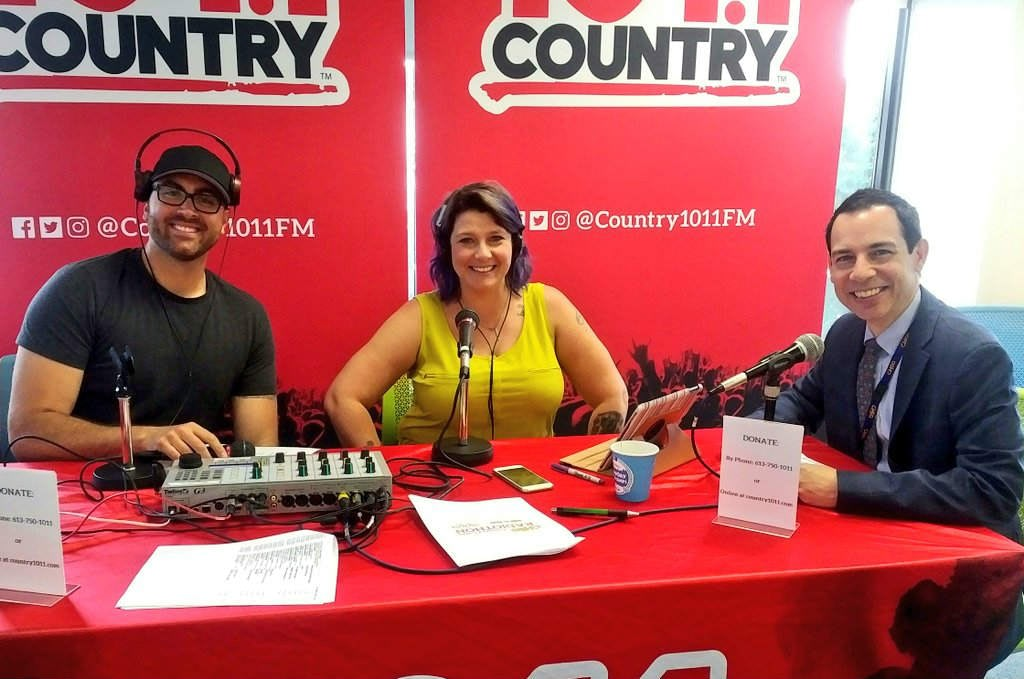 Country 101.1 hosts Matt Dips and Wendy Boomer with CHEO President Alex Munter at the Country 101.1 Country Cares Radiothon for CHEO