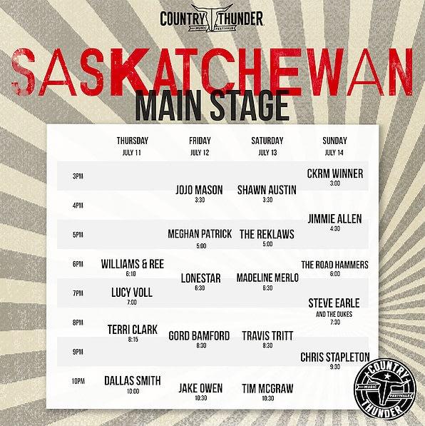 country thunder Saskatchewan schedule for 2019