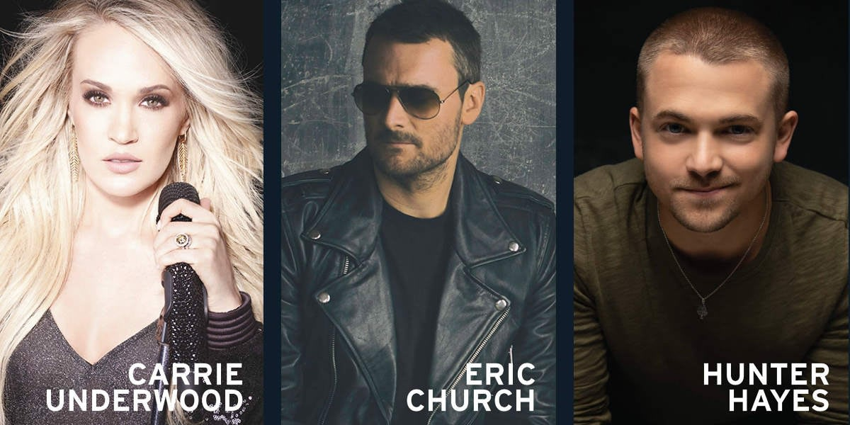 Headliners for the 2019 Cavendish Beach Music Festival - Carrie Underwood, Eric Church and Hunter Hayes