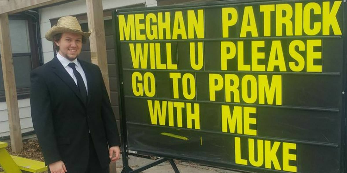 Luke asks Meghan Patrick to the prom with a promposal