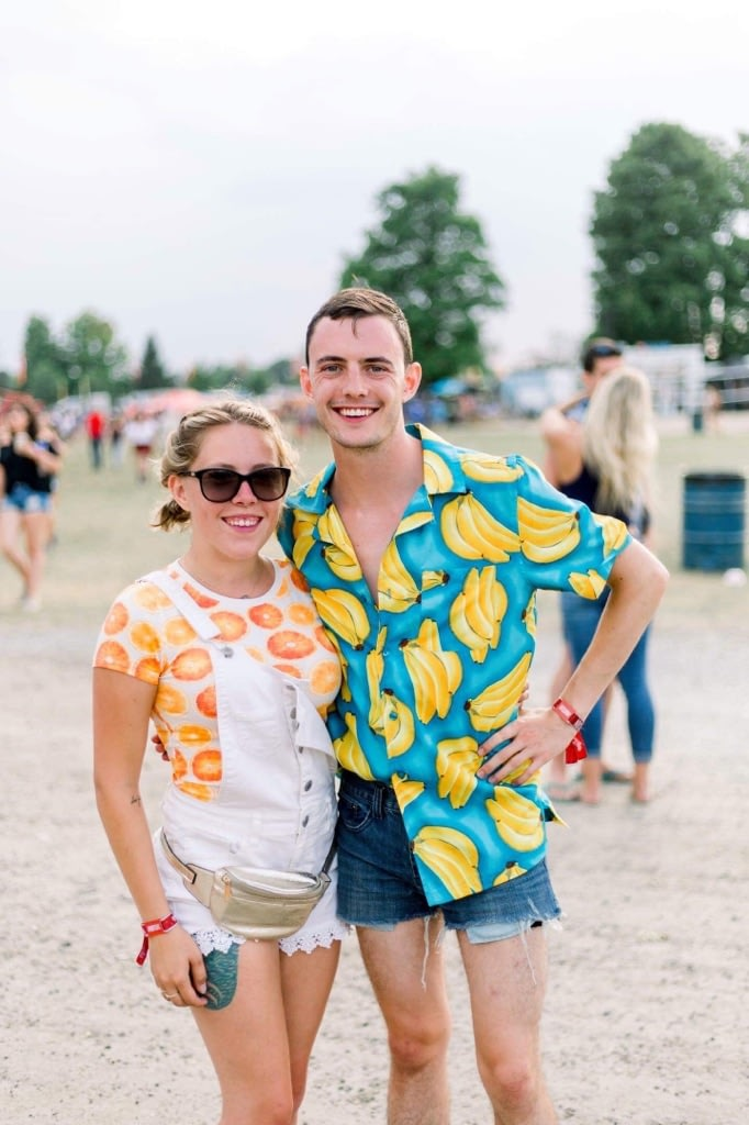 Couples wearing shirts with fruits on them at Boots & Hearts